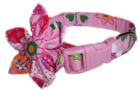 Pink Flower Power Blossom Flower dog cat puppy pet collar