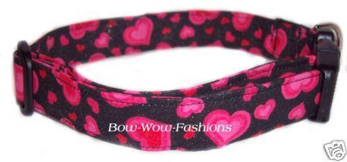 Valentine Hearts Red  Love dog cat pet puppy collar xs sm med lg xl