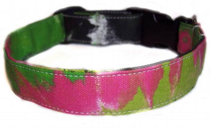 Tye Dye Look hot pink neon lime green fun dog cat pet puppy collar xs sm med lg