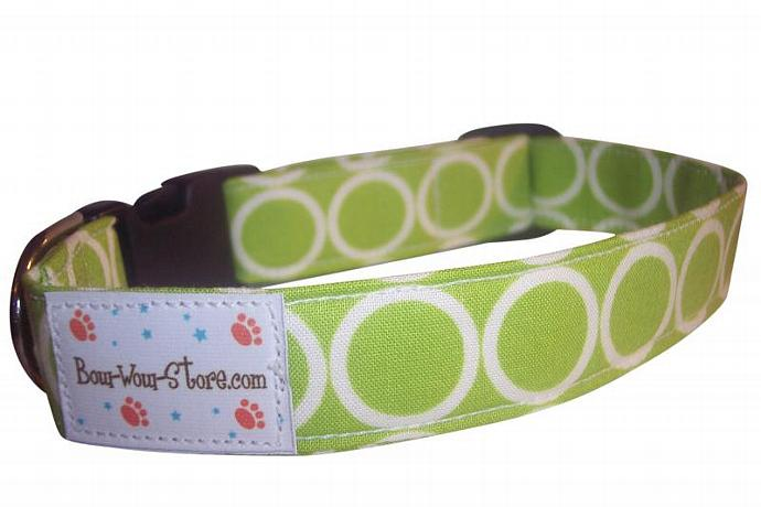 Lime Mod Circles dog cat pet puppy collar xs sm med lg xl custom made all sizes