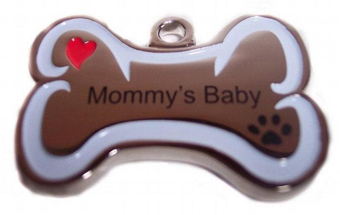 ID Tag MOMMY'S BABY Pet Personality Pendant Bone shaped solid stainless steel id