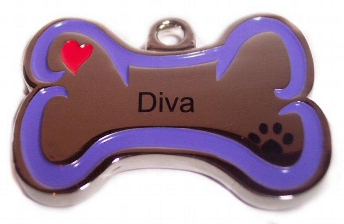 ID tag Diva Pet Personality Pendant Bone shaped solid stainless steel ID tag