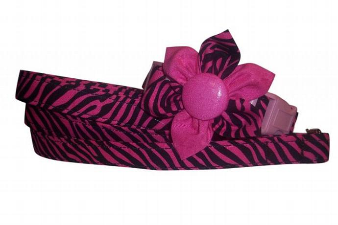 Hot Pink Black Zebra Stripes Collar Blossom Fabric Flower and Matching 4 ft