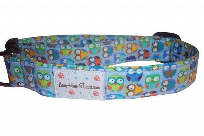 Blue Colorful Owls Hooty Hoot dog cat pet puppy collar xs sm med lg xl custom