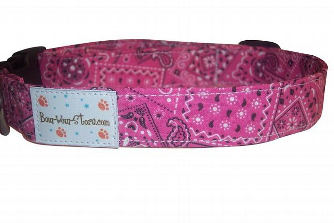 Hot Pink Bandana Western dog cat pet puppy collar xs sm med lg xl custom made