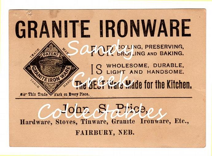 Digital Download Antique Trade Card Kitchen Granite Iron Ware