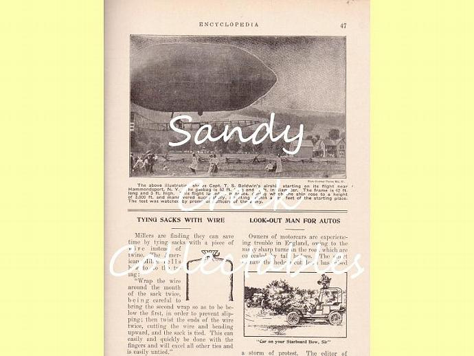 Digital Antique Encyclopedia Page Blimp Airship for Collage, Scrapbooking,