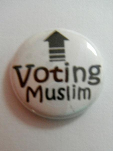 Voting Muslim Button Pin
