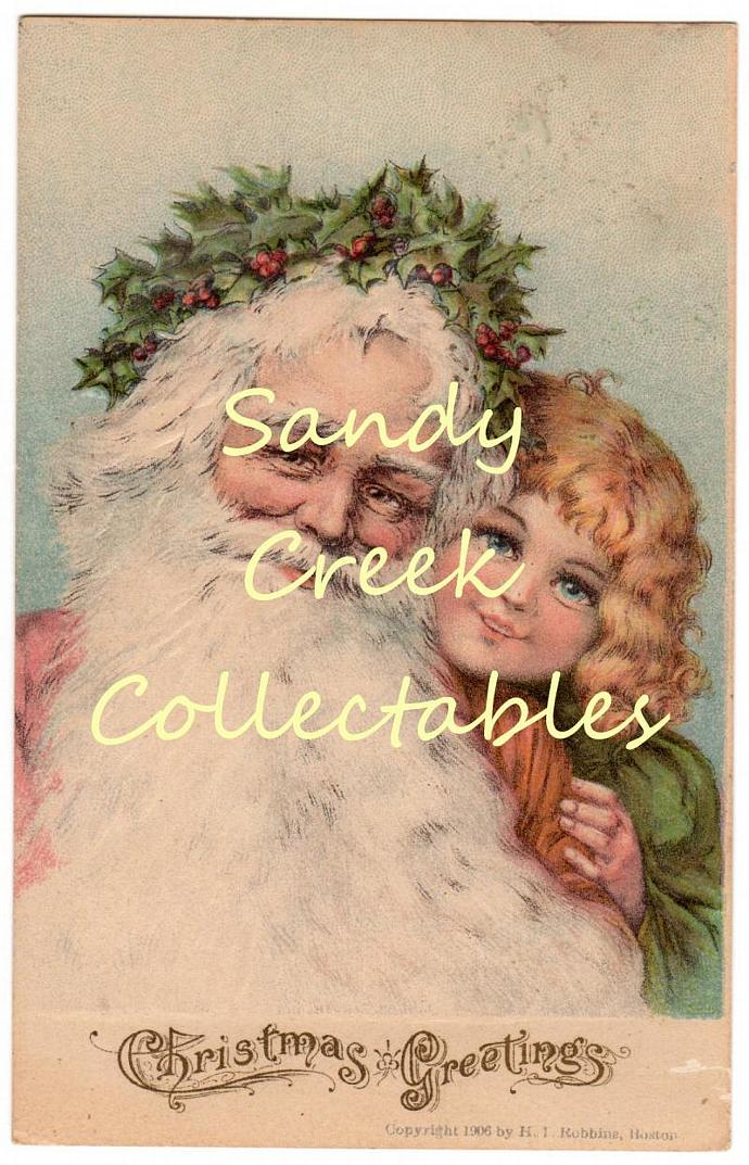 Digital Scan Antique Victorian Christmas Postcard Santa and Boy