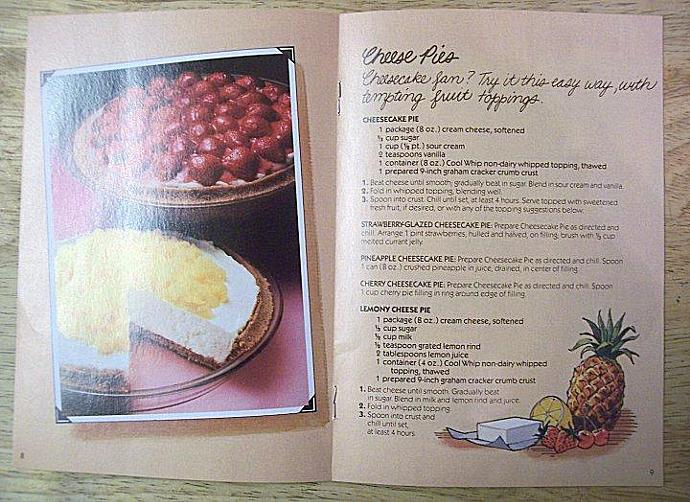 Vtintage Cookbook 1980s Cool Whip Mmmm..in minutes MOUTH WATERING PIES