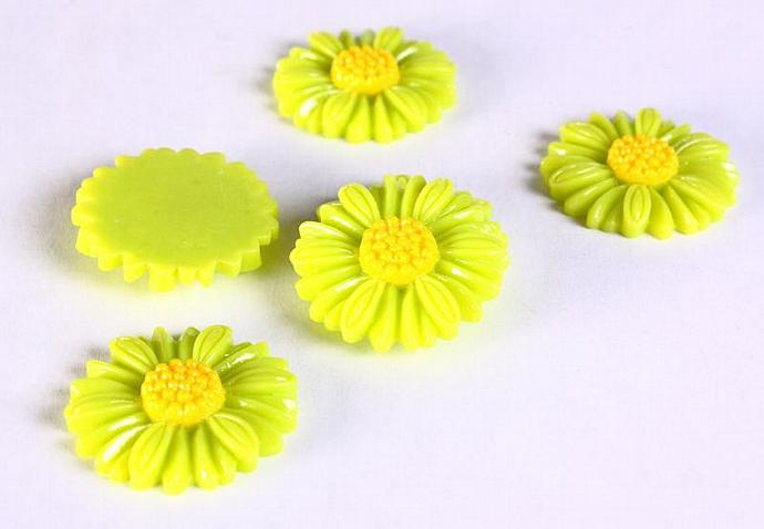 6pc 27mm lucite rose resin flower cab cabochon daisy lime green yellow 6 (639)