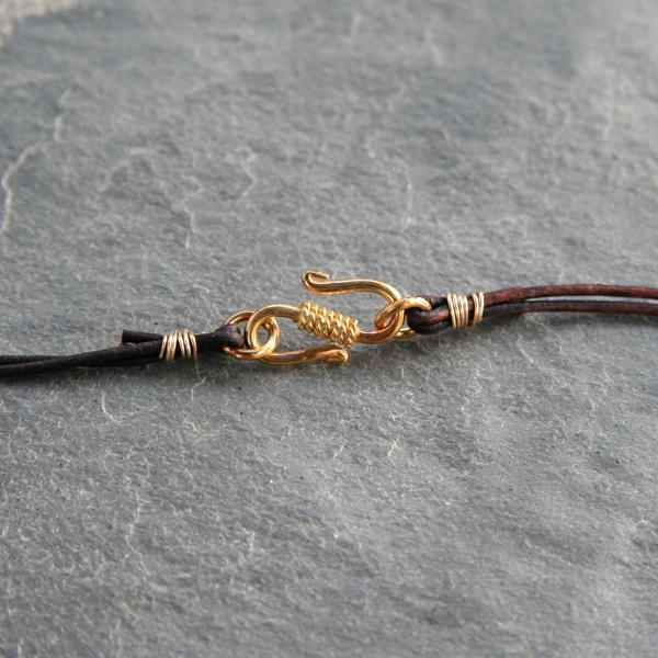 Kyanite, Gold and Leather Necklace