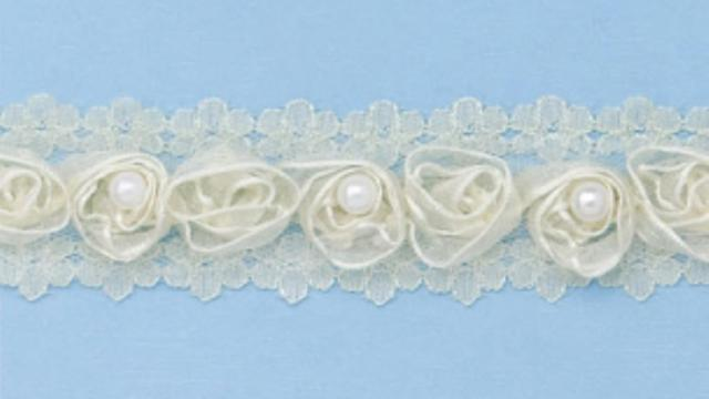 1 yard Cream Shabby Chic ribbon rosette and pearl trim TR13