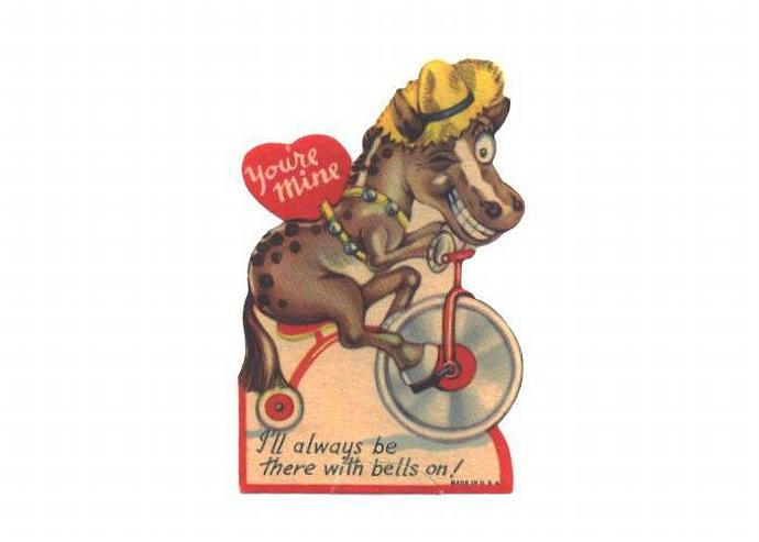 Vintage Valentine Card Horse Pony Riding Tricycle 1940s Greeting