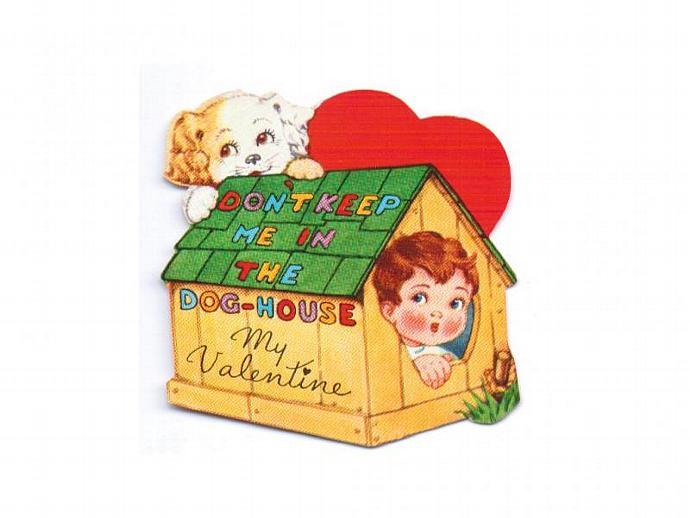 Kids Valentine Card Vintage 1940s Greeting Boy in Dog House Puppy