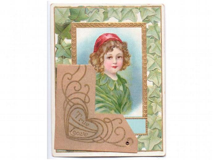 Victorian Valentine Card Antique 1900s Stand Up Embossed Boy Ivy