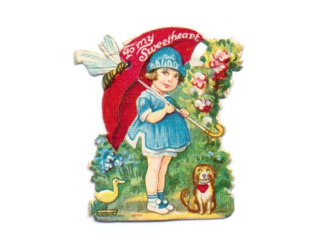 Valentine Card Vintage 1930s Die Cut Stand Up Girl Umbrella Puppy Duck Bumble