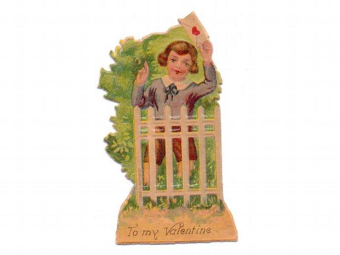 Die Cut Valentine Card Vintage 1920s Germany Embossed Greeting Boy Fence