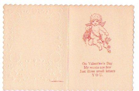 Valentine Card Vintage 1930s Greeting Boy Girl Mailbox Red Hearts Embossed