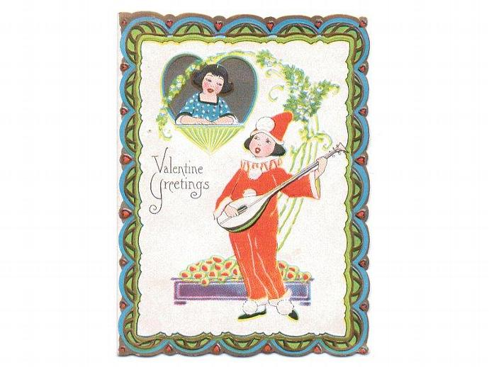 Vintage Valentine Card UNUSED 1930s Greeting Boy Playing Lute Girl Balcony
