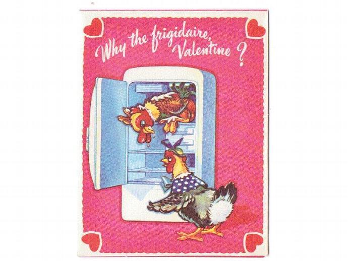 Vintage Valentine Card 1950s Greeting Rooster Hen Refrigerator
