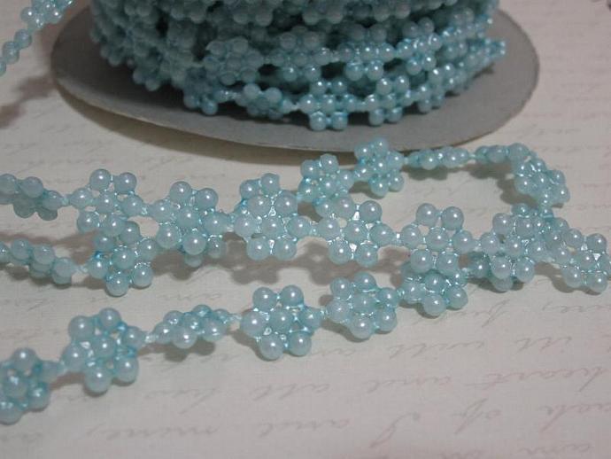 1yd - Sm. Lt. Blue Flower Pearl Trim