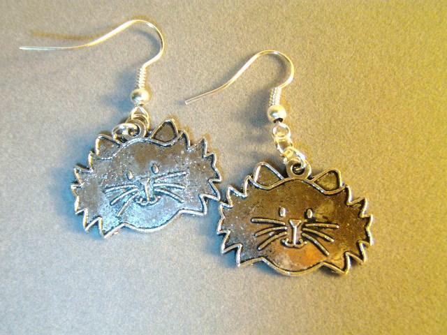 Tibetan Silver Kitty Cat Earrings