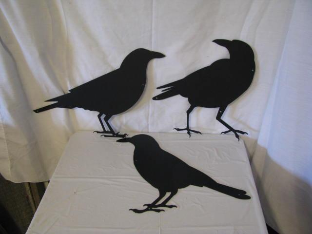 """Raven Crow Collection Small 8"""" Tall Set of 3 Metal Silhouette"""