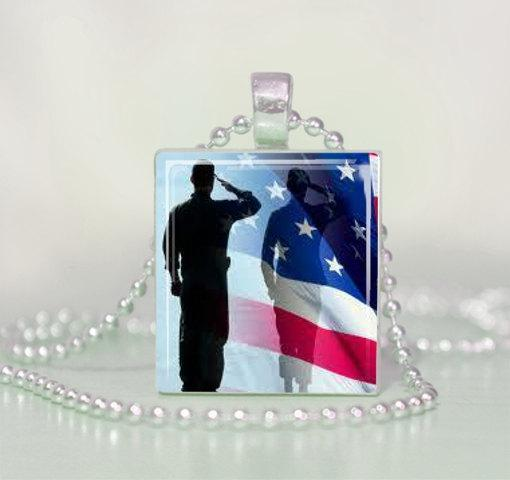 Patriotic Soldier Saluting the American Flag Scrabble Tile Pendant Necklace
