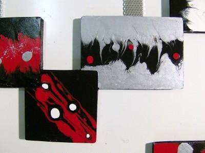 ON SALE!!!  3pc Red,Black,Modern,Abstract,Squares, Sculpture 81x37 by Alisa R