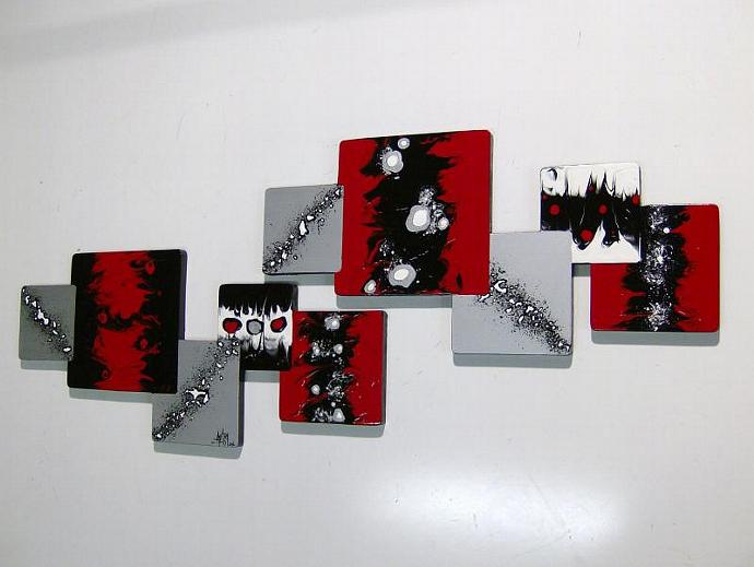 "LARGE 2pc ""Xander"" Red and Black Wooden Abstract Art Modern Wall Hangings,"