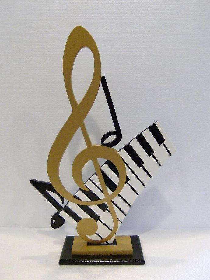 Lovely Gold G Clef U0026 Piano Keys Music Table Sculpture Art By Diva Art69  Studios