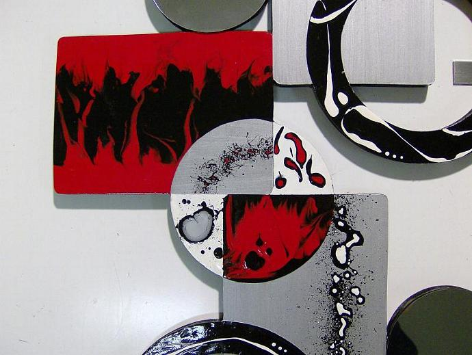 Designer Ruby Red Black Silver Modern Abstract Wall Sculptrure wood with Mirror