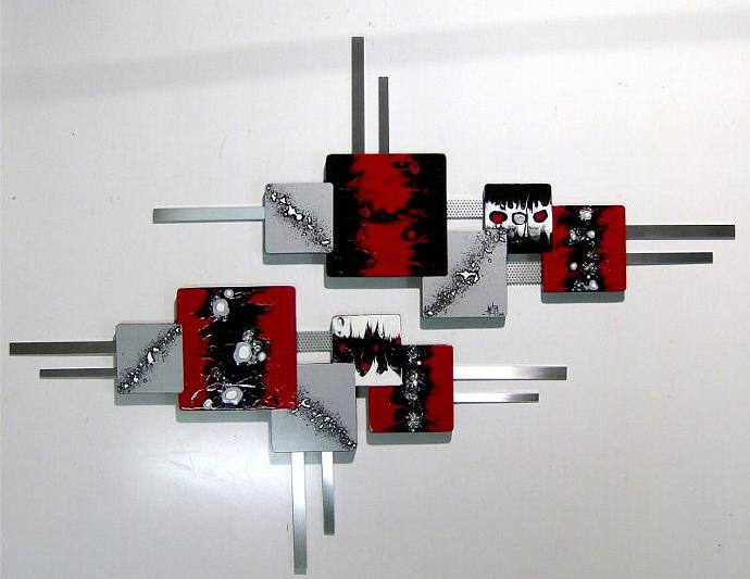 New 2pc Abstract Art Modern Squares Wood Wall Sculpture Hangings WITH METAL