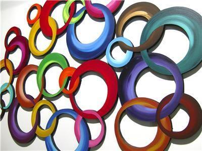Large Set of 4-Vibrant Contemporary Modern Circle Cluster Wood Wall Sculpture