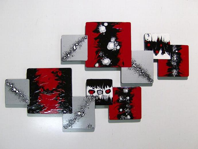 "Custom 2pc ""Xander"" Wood wall hanging - Red Black Silver Wooden Abstract Modern"