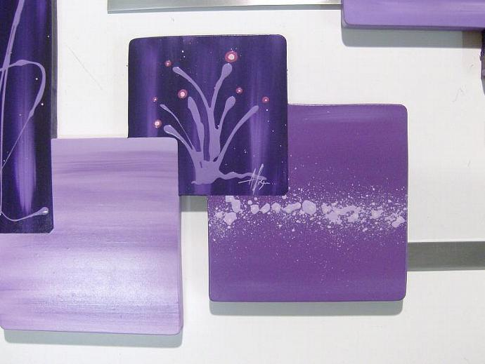 Gorgeous Large 2pc Purple Abstract Art Wood Wall hangings with metal by Diva