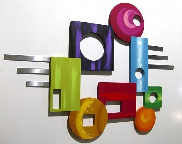 CoNTeMPoRaRY Colorful MoDeRN AbSTrAcT ArT WaLL ScULpTUrE with METAL -Peace Out-