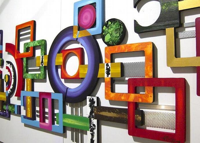 HUGE 3pc Intense Vibrant Contemporary Modern Geometric abstract art wood wall