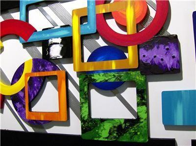 Funky Contemporary modern abstract art, Geometric Wood  Wall Sculpture with