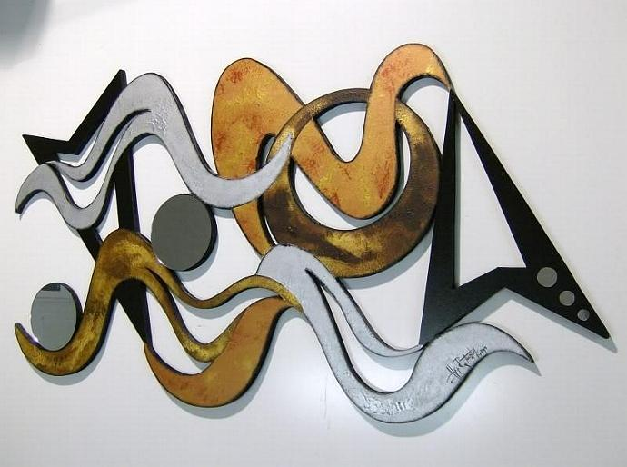 Funky Modern Textured Abstract Art Wall Sculpture 43x24  by Alisa R.Tarpley,
