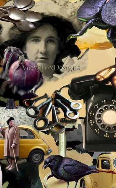 Art -- THE THIRD FLOOR Digital collage, High heeled shoes, Black bird raven, Old