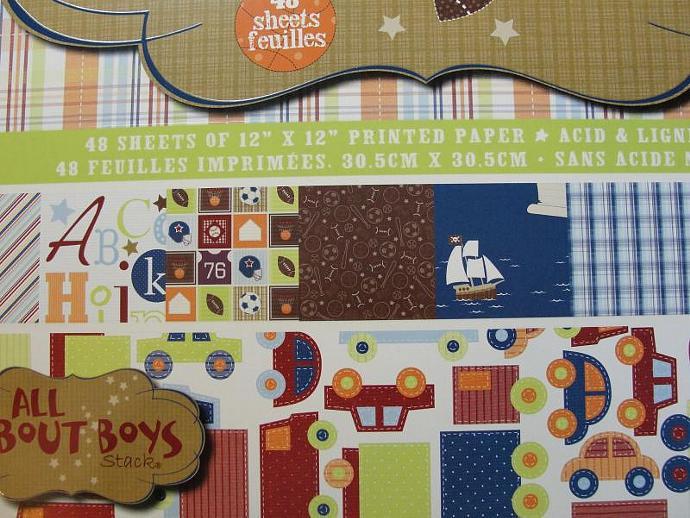 6- Baby Onesie Kraft Chipboard Mini Album w/Paper Selection