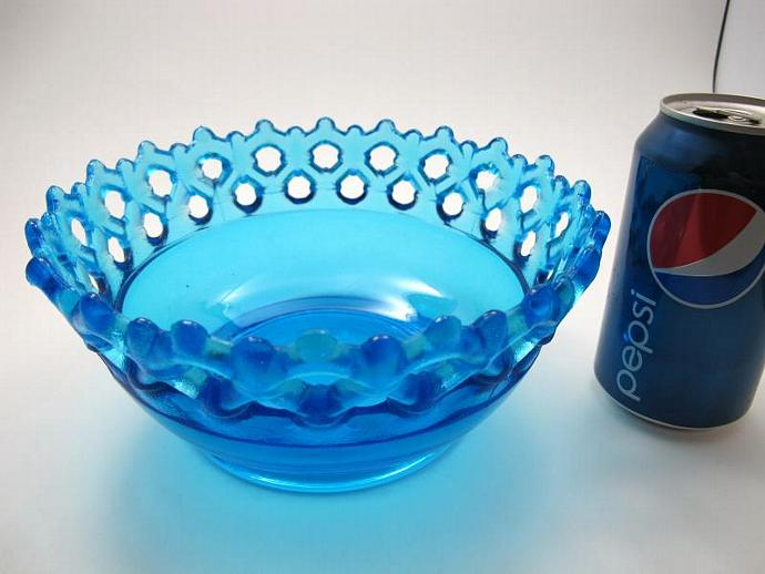 bowl laced  blue Plum glass