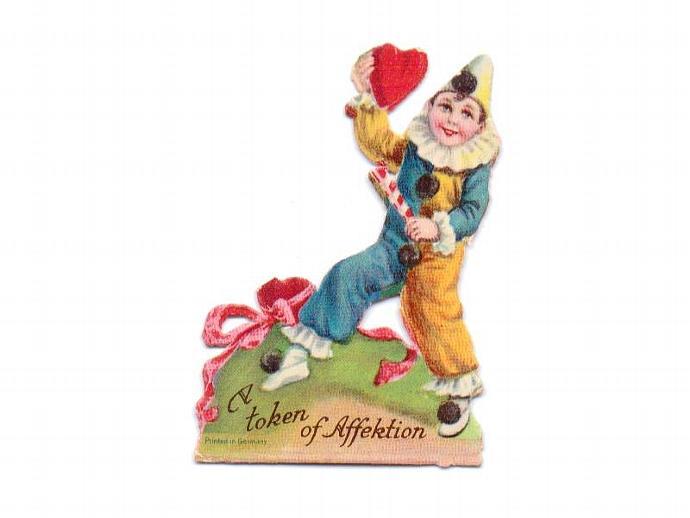 Vintage Valentine Card UNUSED 1910s Greeting Clown Boy Stand Up Die Cut  Germany