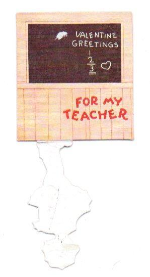Vintage Valentine Card Vintage 1930s Teacher Greeting Girl at Chalkboard