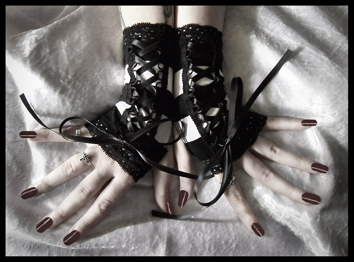 Corset Laced Up Fingerless Gloves Black and White
