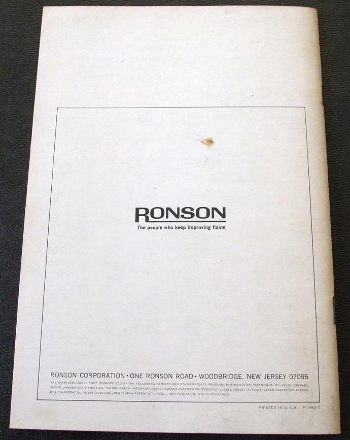 Ronson Varaflame Table Chef Instruction Manual Recipe Book