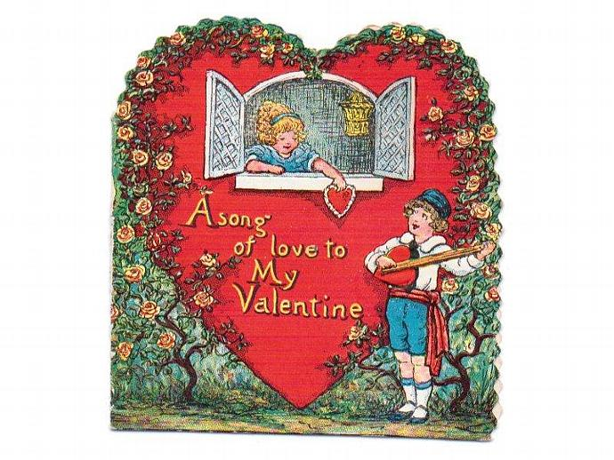 Valentine Card Vintage 1930s Art Deco Greeting Boy Serenading Girl at Window