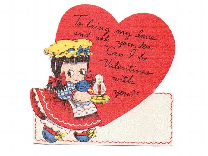 Vintage Valentine Card UNUSED 1940s Greeting Dutch Girl with Lantern